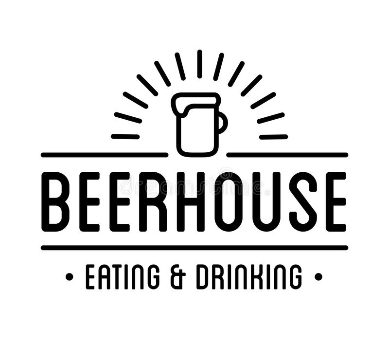 Black logo. Beer house label template. Graphic design element for business: cafe, bar, pub. Vector Illustration isolated on white background royalty free illustration