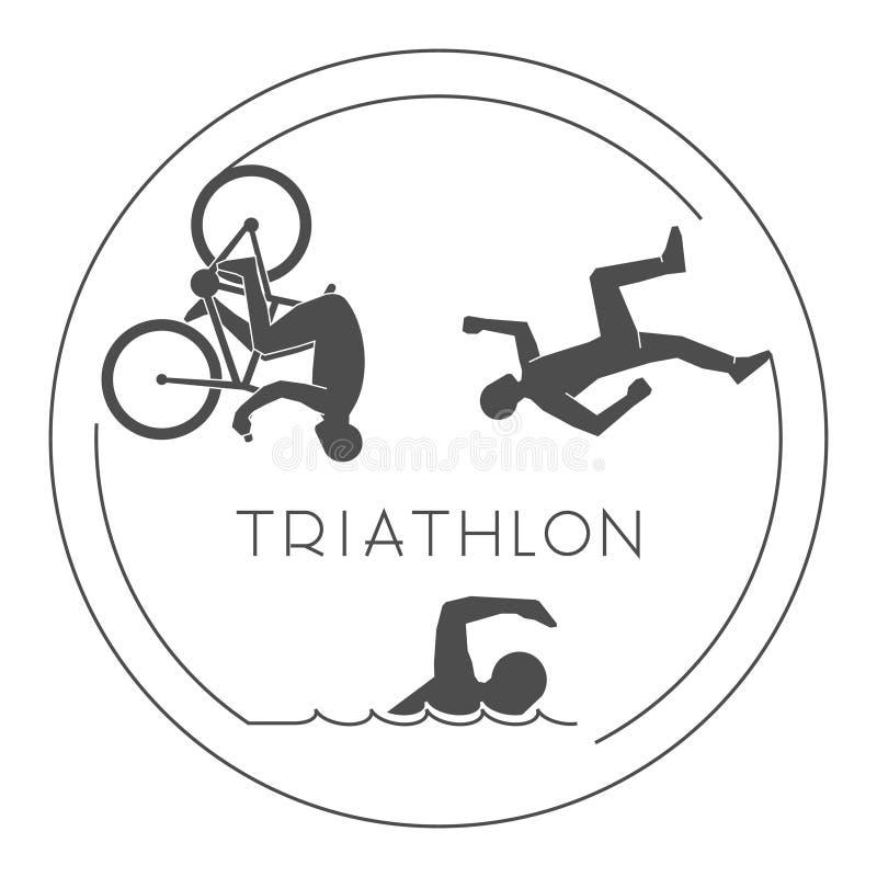 Black logo triathlon. Vector figures triathletes. stock photo