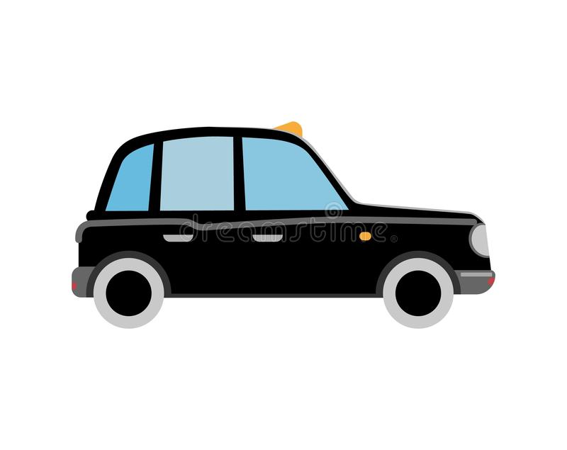 Black London taxi cab. Retro car. Flat vector isolated royalty free illustration