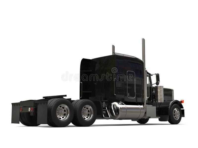 Black long haul semi - trailer big truck - back view. Isolated on white background stock illustration