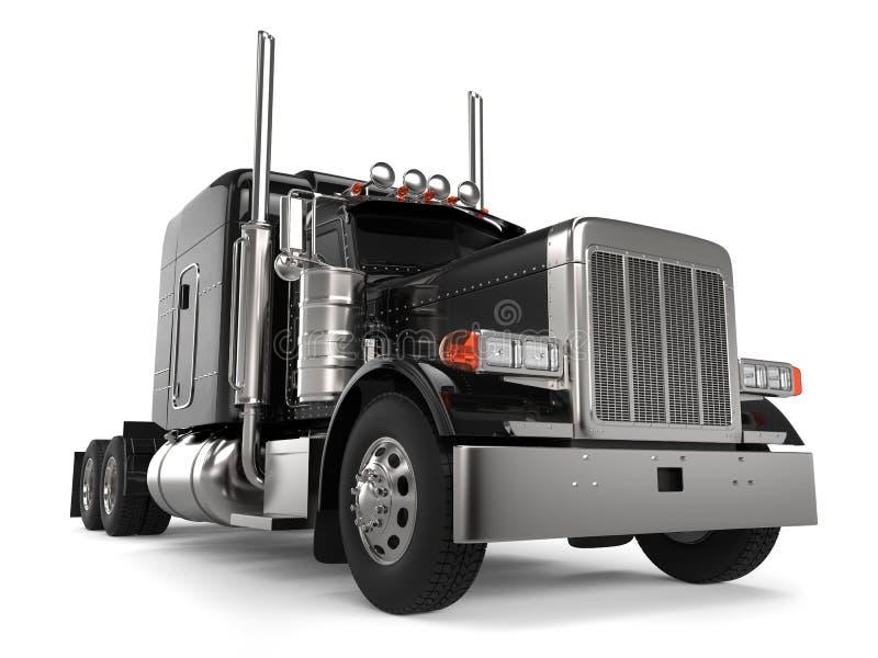 Black long haul semi - trailer big truck - closeup shot. Isolated on white background royalty free illustration