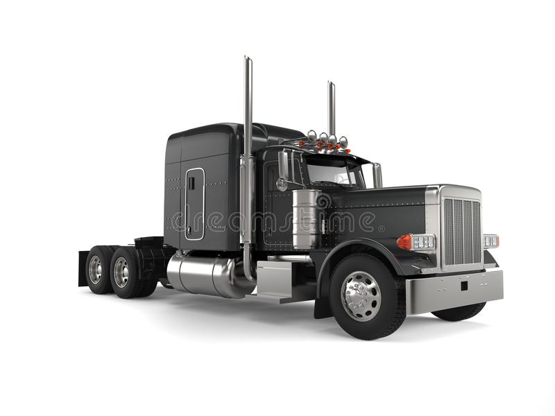 Black long haul semi - trailer big truck. Isolated on white background royalty free illustration
