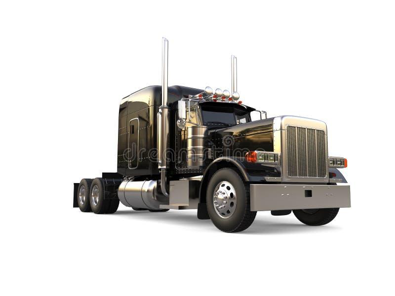 Black long haul semi - trailer big truck - low angle shot. Isolated on white background royalty free illustration