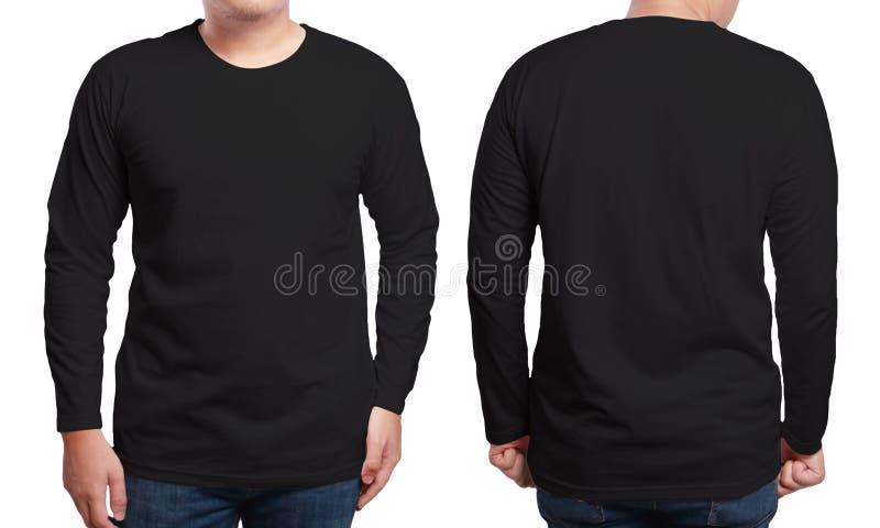 Black long sleeved shirt design template stock image for Long sleeve t shirt template
