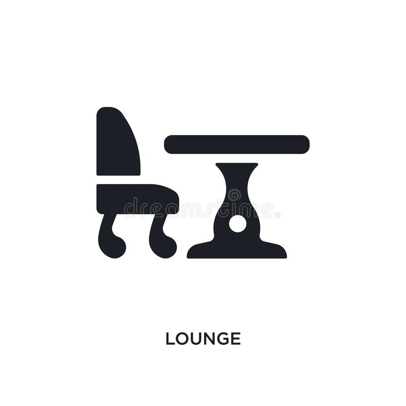 black lounge isolated vector icon. simple element illustration from hotel and restaurant concept vector icons. lounge editable royalty free illustration