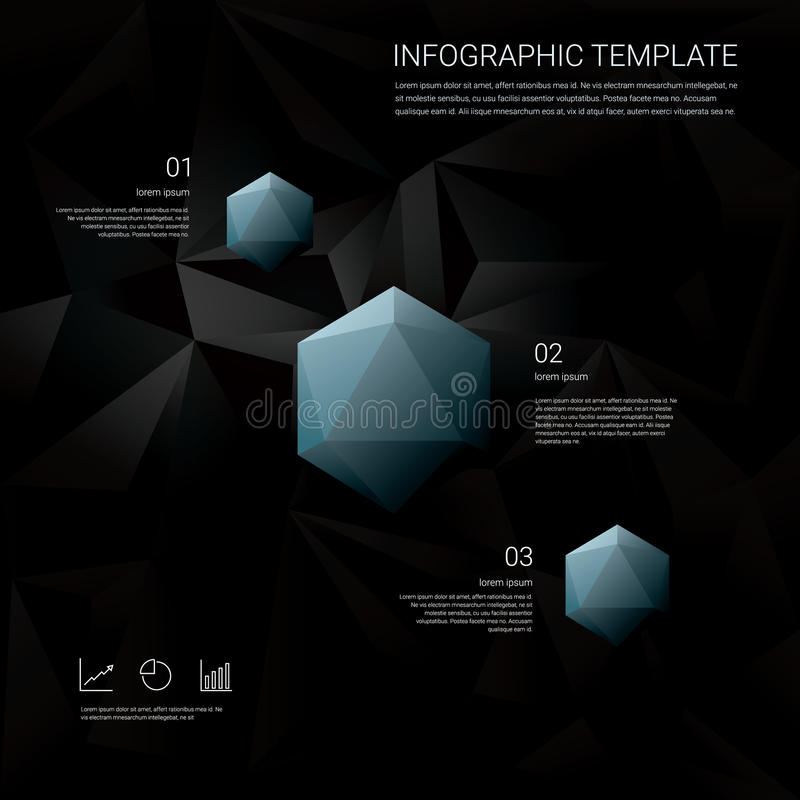 Black low poly background with infographics menu options for business presentations. Blue geometric diamond hexagonal. Shapes. Eps10 vector illustration vector illustration