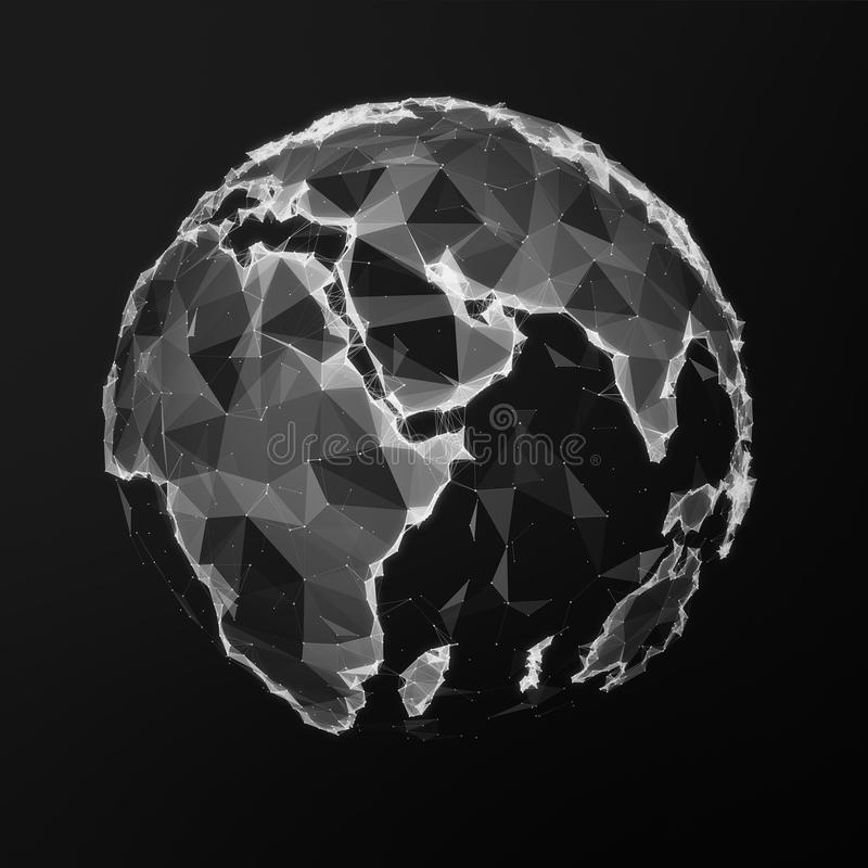 Black low poly earth stock illustration