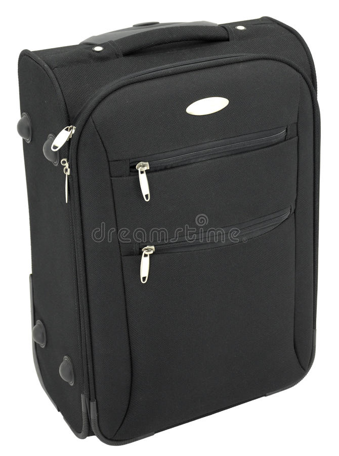 Black luggage. A black luggage with handle up on the white background stock image