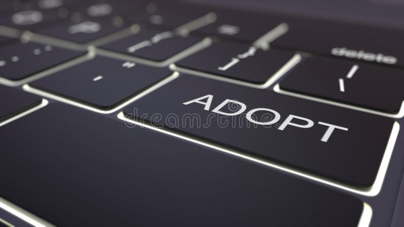 Black luminous computer keyboard and adopt key. Conceptual 3D rendering royalty free illustration