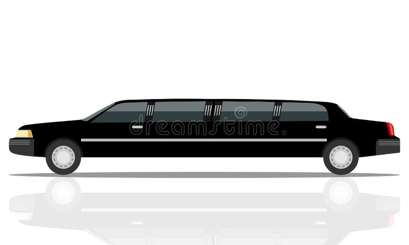 Black luxurious limousine vector illustration isolated on white background. limousines isolated on white. vector illustration