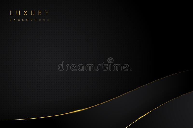 Black luxury abstract background and line gold color stock photo