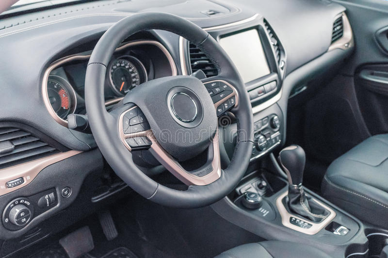 Black luxury and modern car interior royalty free stock images