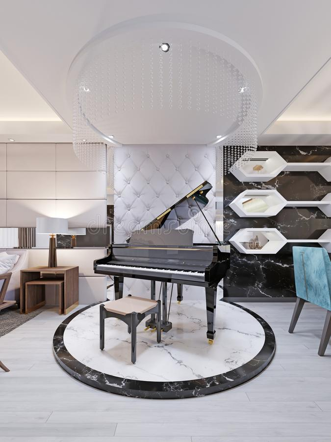 Black luxury piano on a marble podium, in a studio apartment with a leather designer quilted wall. Modern living room with dining. Area. 3d rendering stock illustration