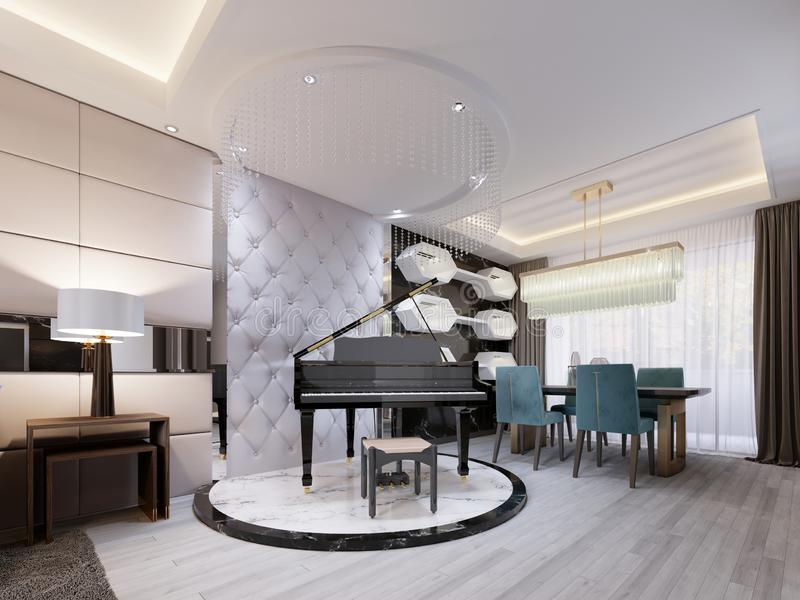 Black luxury piano on a marble podium, in a studio apartment with a leather designer quilted wall. Modern living room with dining. Area. 3d rendering vector illustration