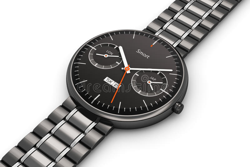 Black luxury smart watch. Creative abstract business mobility and modern mobile wearable device technology concept: black stainless steel luxury digital smart stock illustration