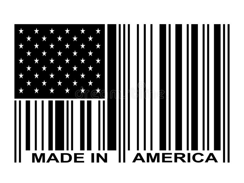 Black Made In America Barcode. Made in america stars and stripes flag barcode vector illustration