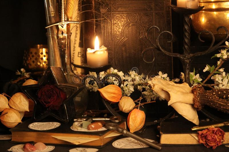 Black Magic Spells. Real black magic spells. Wiccan spells. Black magic, as white magic, can be used for good or ill stock photo