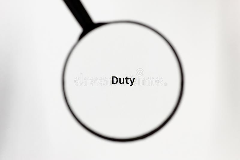 Black magnifier magnifies the inscription on a white sheet of paper. Black magnifier increases the inscription on a white sheet, mock up stock photography
