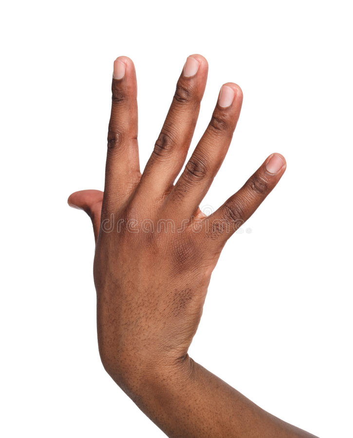 Black male hand isolated on white background royalty free stock image
