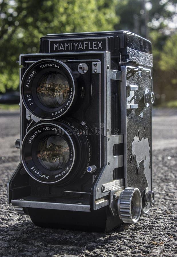 Black Mamiyaflex Vintage Camera stock photography