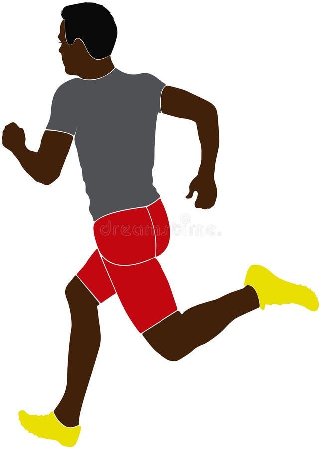 Black man athlete sprinter stock illustration