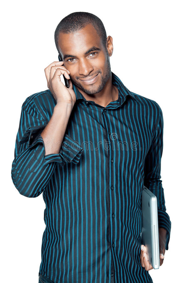Download Black man with cellphone stock image. Image of notebook - 16076519