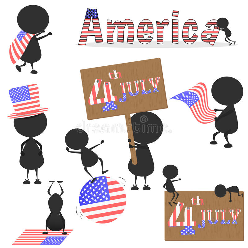 Black man character many acting with United Stated of America USA flag for using about 4th JULY Independence Day. vector. vector illustration