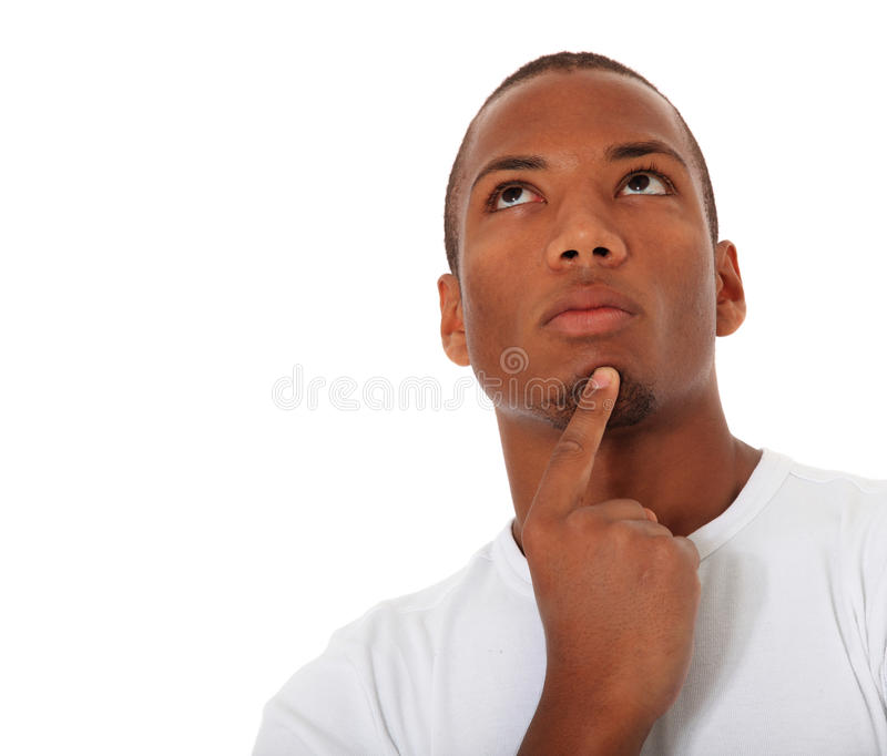 Black man deliberates a decision stock photography
