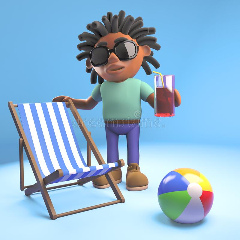 Black man with dreadlocks with deckchair, drink and beachball, 3d illustration. Render vector illustration