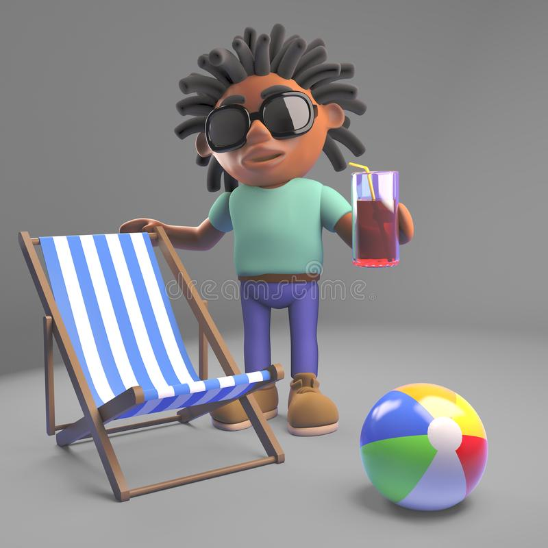 Black man with dreadlocks on holiday with deckchair and drink, 3d illustration. Render vector illustration