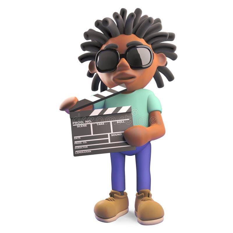 Black man with dreadlocks making a movie holding a film slate, 3d illustration. Render vector illustration