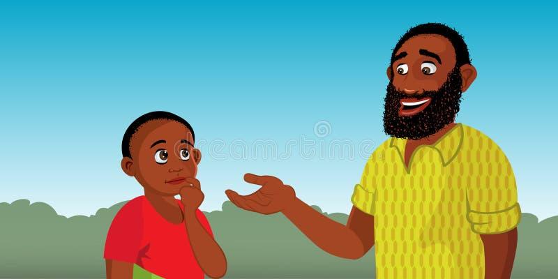 Black man explaining to child. Cartoon illustration of a black man explaining to child stock illustration