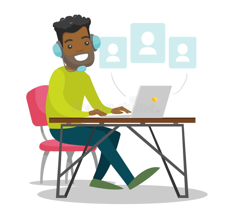 A black man in headset working at the office desk. royalty free illustration