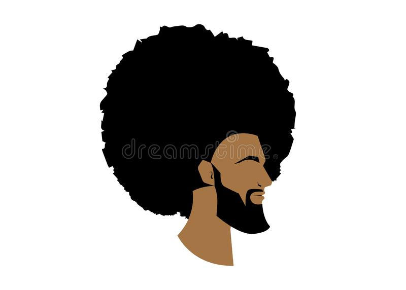 Black man portrait with afro curly design, Barber shop and hairstyle. Healthy sporty young black man with beard and mustache. Black man portrait with afro curly vector illustration