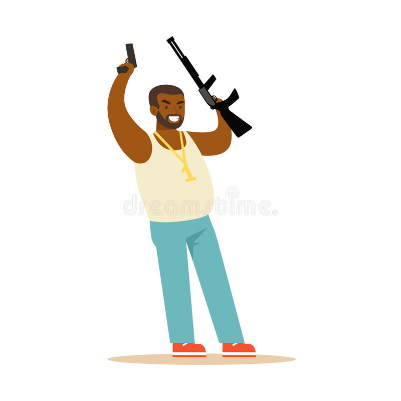 Black man raising his hands with guns to surrender, robbery colorful character vector Illustration. Isolated on a white background stock illustration