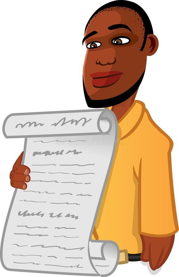 Black man reading a bill royalty free illustration