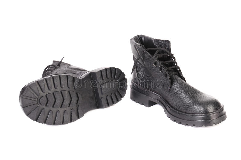 Black man's boots. Isolated on a white background royalty free stock image