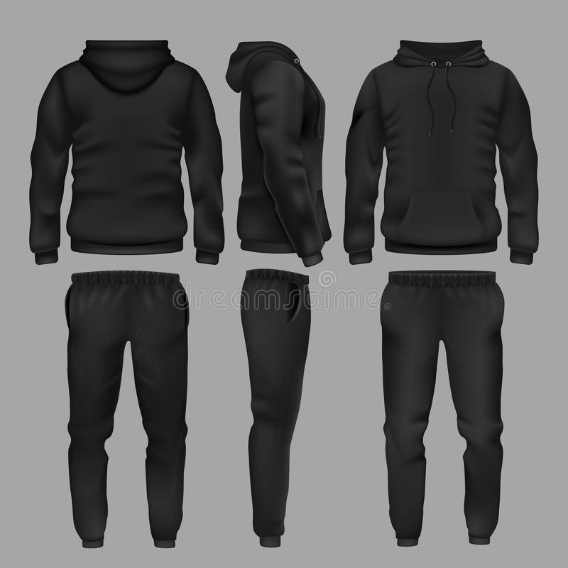 Free Black Man Sportswear Hoodie And Trousers Vector Mockup Isolated Stock Images - 109725584