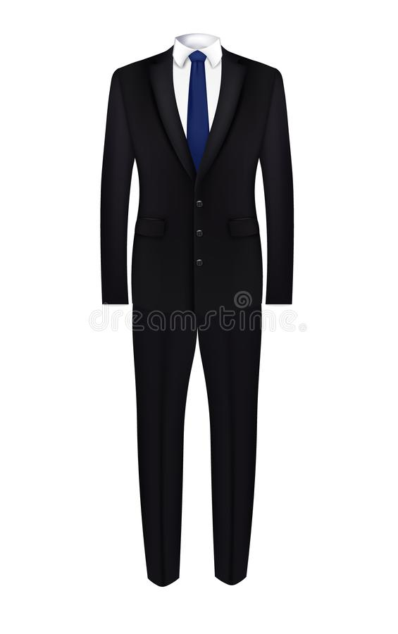 Black man suit with blue tie royalty free illustration