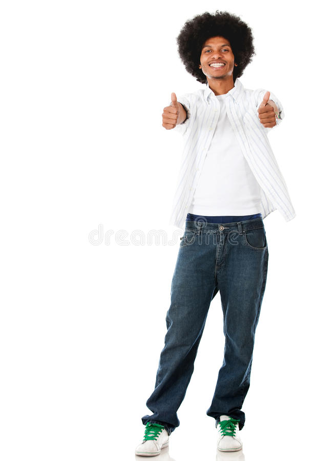 Download Black man with thumbs up stock image. Image of content - 26469195
