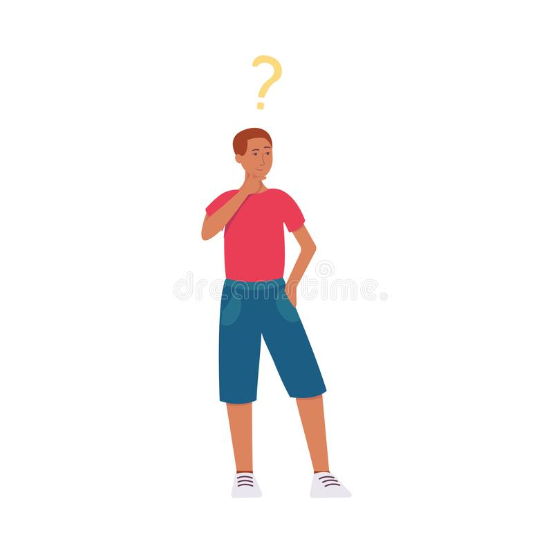A black man, young African American in shorts, stands with a question mark above head and thinks. royalty free illustration