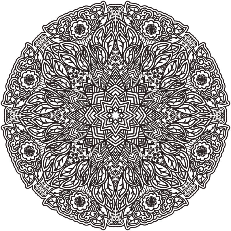 Black mandala for coloring. Isolated element colouring page. Art design. Unusual pattern in Indian style tattoo. Outline flower. royalty free illustration