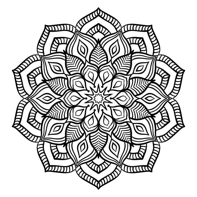 Black Mandala Coloring Page Stock Vector - Illustration of drawing ...