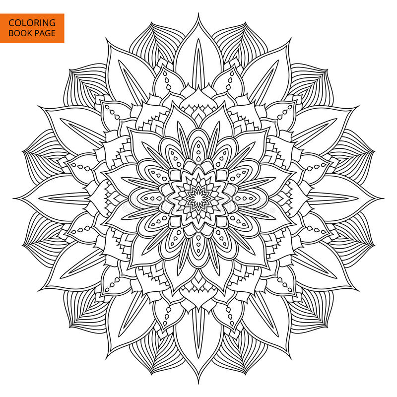 Black Mandala Flower For Coloring Book Stock Vector