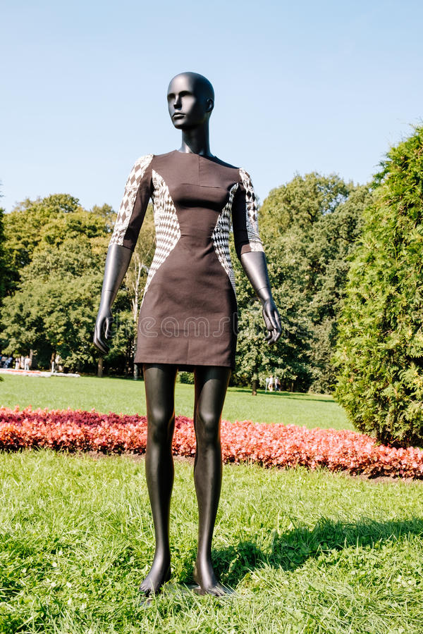 Black mannequin dressed in a dress. Black mannequin dressed in a beautiful dress in the park royalty free stock images