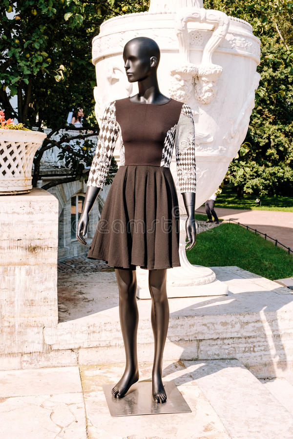 Black mannequin dressed in a dress. Black mannequin dressed in a beautiful dress in the park royalty free stock photos