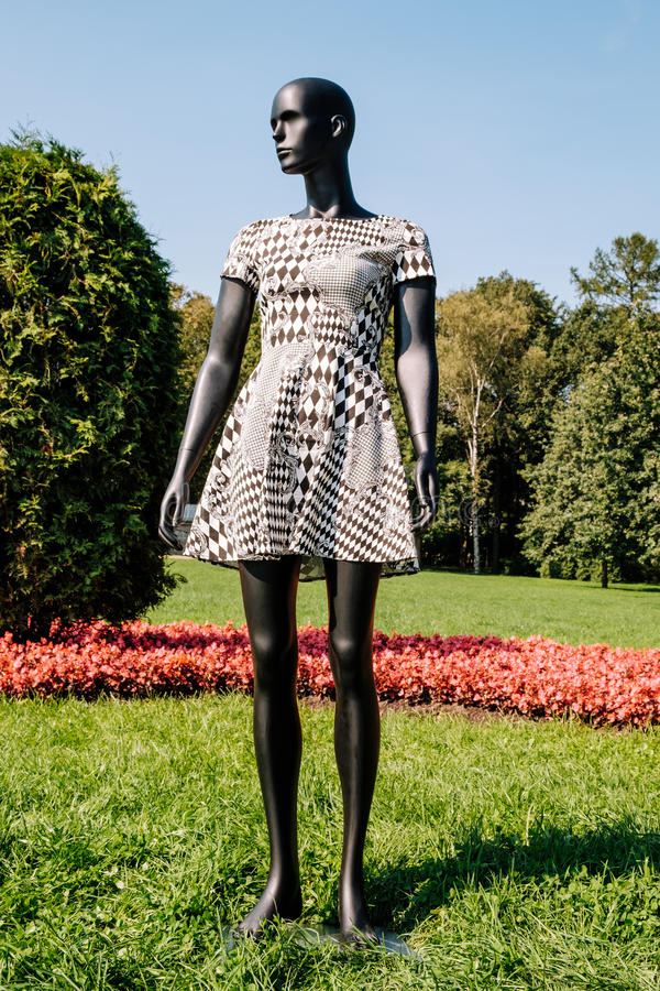 Black mannequin dressed in a dress. Black mannequin dressed in a beautiful dress in the park stock photo