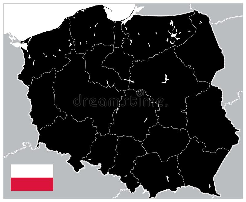 Black Map of Poland. No text. Detailed map of Poland vector illustration - All elements are separated in editable layers clearly labeled vector illustration