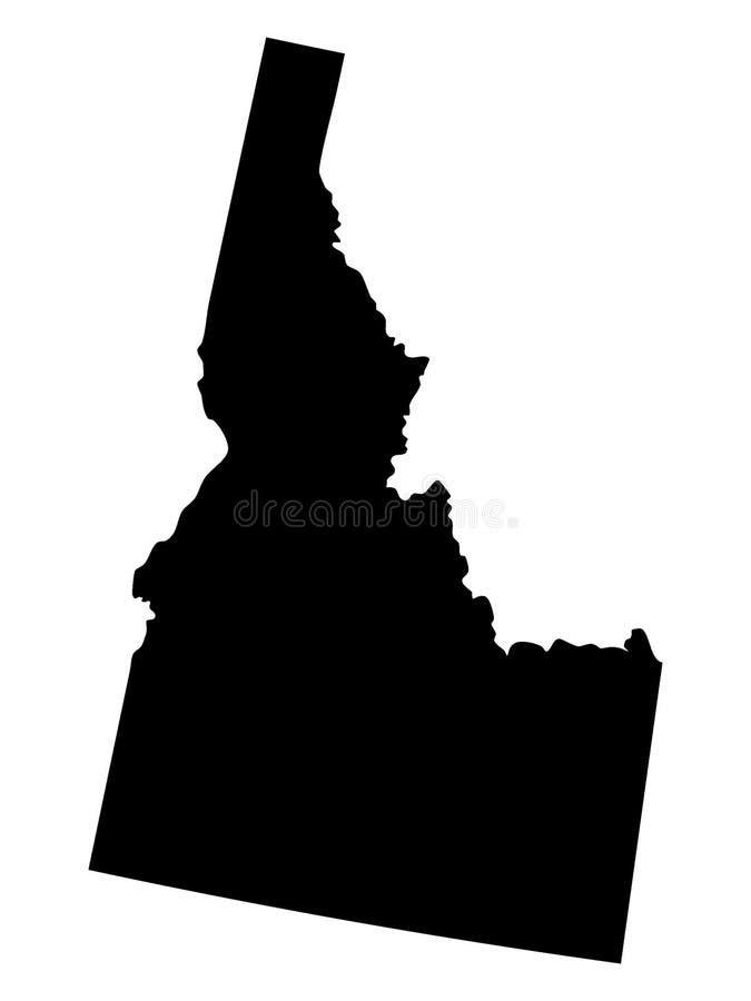 Black Map of USA State of Idaho vector illustration