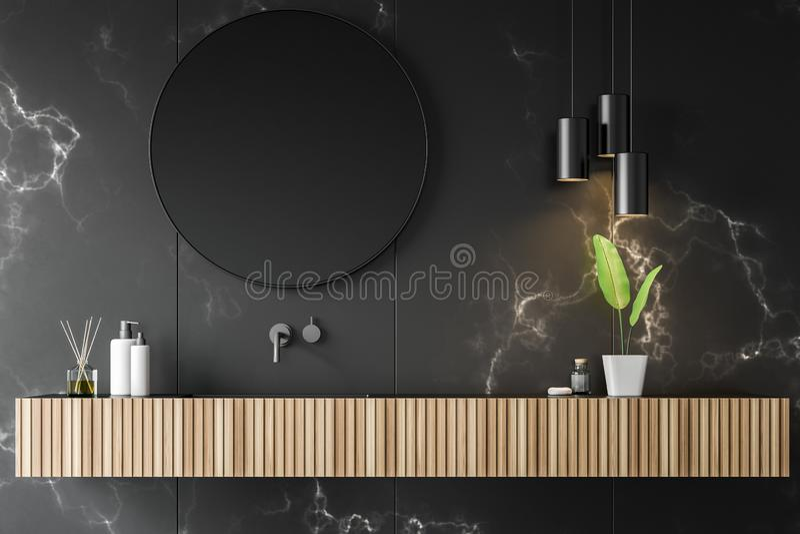 Black marble bathroom with sink stock illustration